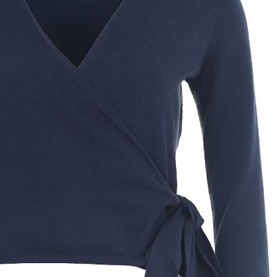 wrap ribbon silky blouse